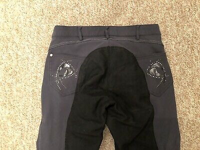 Pikeur Ladies Breeches Piana Contrast Grey/Black Size UK 10 Long RRP £180