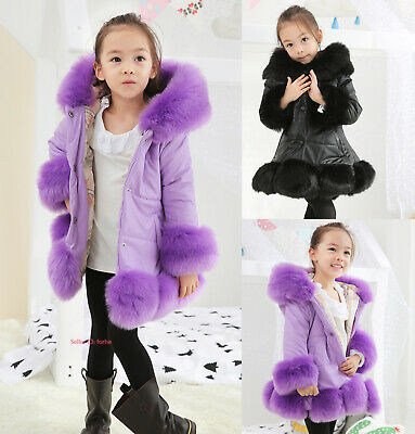 Kids Girls Winter Warm Faux Fur Coat Quilted Leather Jacket Hooded Long Outwear