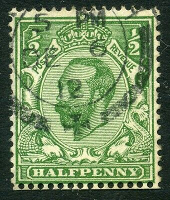1912 ½d Green DOWNEY HEAD Simple Cypher INVERTED WMK Dated cds used SG 335Wi