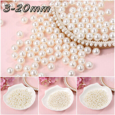 Hole Imitation Pearls Beads Jewelry Making Accessories  Round Loose Beads