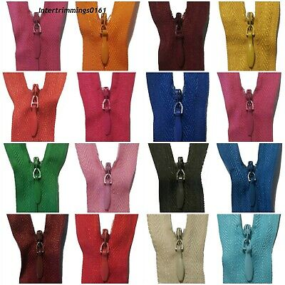 "Zips Invisible/Concealed 8""/20Cm Nylon, X2 Or X5,Assorted Colours, No3 Free P&P"