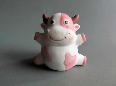 White Pink Cartoon Cow Miniature Ceramic Animal Figurine Cute Little Tiny Small