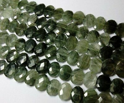"""Natural Rutilated Quartz Black Faceted Oval Gemstone Beads 13X18mm-14X19mm 8"""""""