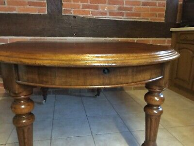 Antique Farmhouse Oval Extending Mahogany  Wind Out Dining Table