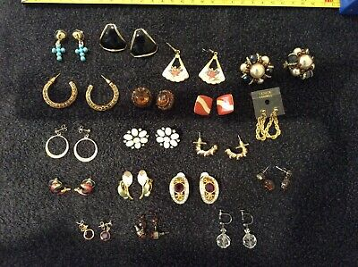 Large Assortment Of Fashion Jewellery Earrings. Various. Used.