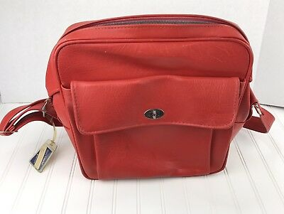 Vintage Sears Samsonite Courier Red Vinyl Carry On Luggage Bag Mod Retro Travel