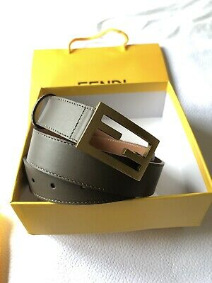 Brand New Authentic Fendi Leather Belt Gold Buckle Zucca Size 85 RRP £350