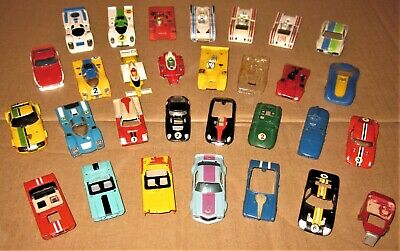 30 VINTAGE 1960s AURORA T'JET AFX VERY-USED INCOMPLETE/BROKEN HO SLOT CAR BODIES