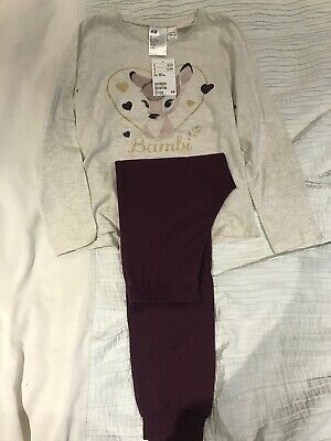 H&M Girls Disney Bambi Pyjamas New 6-8 Years