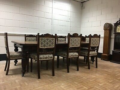Antique Victorian Solid Mahogany Extendible Dining Table & 8 Chair -seats 4 - 8