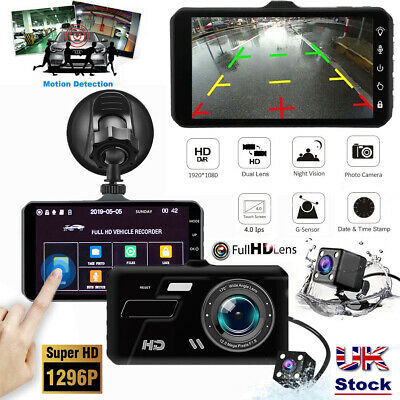 """4"""" Touch Car Camera Recorder Dual Front and Rear HD 1080p Dash Cam Night Vision"""