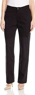LEE Women's Relaxed Fit All Day Straight Leg Pants Stretch, Black, 12 Long