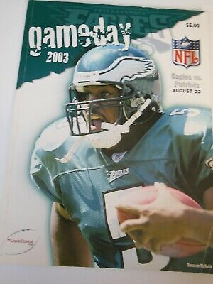 Philadelphia Eagles vs  New England Patriots GameDay NFL Football Program 2003