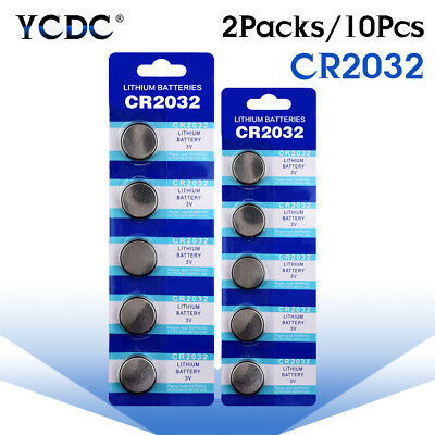 10Pcs 3V Button Battery Coin Cell Li-ion 5004LC ECR2032 CR2032 DL2032 KCR2032 3