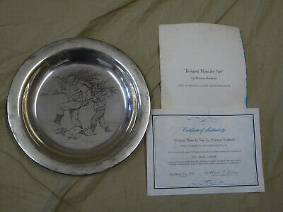 1970 Franklin Mint NORMAN ROCKWELL Bringing Home the Tree -Sterling Silver Plate
