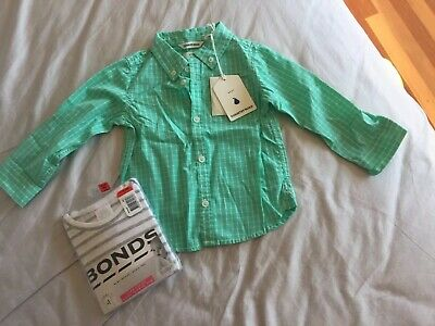 BNWT Baby's Country Road Checked Shirt & Bonds Long Sleeve Tee 12-18 Months