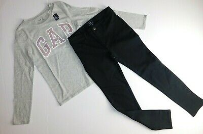 NWT GAP Kids Girl's 2 Pc Outfit T-Shirt Grey Sequins/Pants Medium MSRP$48 New