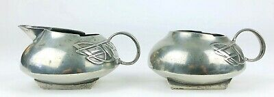 -ARCHIBALD KNOX, LIBERTY & Co.- TUDRIC PEWTER MILK JUG & SUGAR BOWL TEA SET 0231