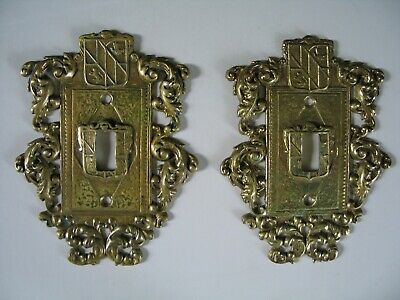 ELECTRIC SWITCH PLATES Pair Antique Heavy Cast Brass Ornate VERY GOOD CONDITION
