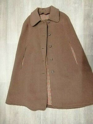 Women's Vintage Wool Blend Camel with Check Inner Cape Cloak - Size UK 10/12/14