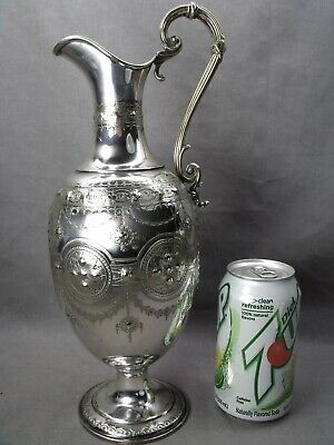 Large Ornate Hand Chased English Silver Plate Claret Jug $9,99 Wow!!!!