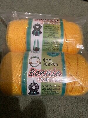 BONNIE CRAFT CORD 'MACRAME'  4mm x 100 yd Knotting/Weaving  Sunshine 2 Rolls