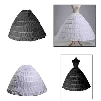 Woman 6 Hoop Wedding Ball Gown Crinoline Bridal Dress Petticoat Skirt Underskirt