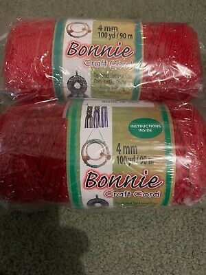 BONNIE CRAFT CORD 'MACRAME'  4mm x 100 yd Knotting/Weaving  Red 2 Rolls
