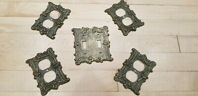 Set of vintage metal cover plates: 4 outlet, 1 double switch FREE shipping