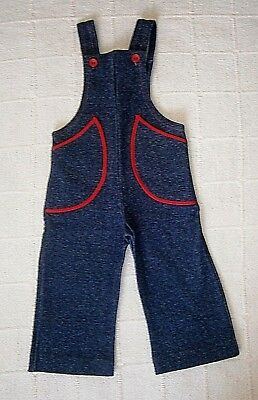 Vintage Stretch Dungarees -Age 12-18 months-Approx -Navy/Red trimmed Pockets-New
