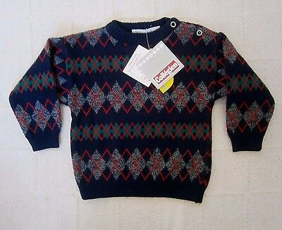 Vintage Quality Sweater- Age 18 months - Navy/Red/Green Diamonds -New. Ref:-J108
