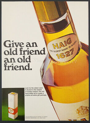 1969 Haig 1627 Scotch Whiskey bottle Give an old friend photo vintage print ad