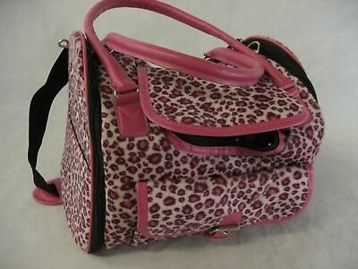 Pink Leopard Pet Carrier Soft Sided Travel Tote Bag Small Cat Dog