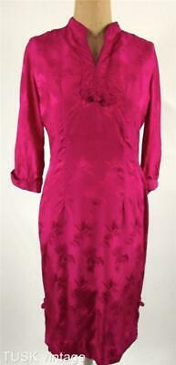 VINTAGE MID CENTURY 60s Chinoiserie HOT PINK embossed SILK wiggle DRESS 10