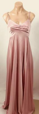 VINTAGE 70s shimmery COOL PINK bust piece ACORDIAN PLEATED maxi gown dress 4 6