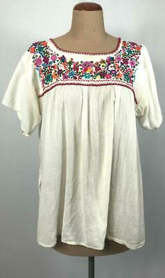 VINTAGE Oaxacan natural CHEESECLOTH cotton colourful EMBROIDERED smock top L