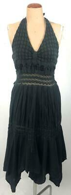 VINTAGE 70s MEXICAN black COTTON embroidered CROCHETED halter neck dress 6 8 10