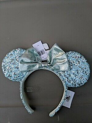 NEW Disney Parks Frozen Arendelle Aqua Minnie Mouse Ears Sequin Headband