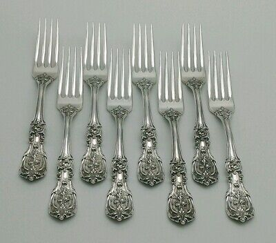 Set of 8 Reed & Barton Francis I Sterling Silver Forks, PAT 1907 Old Marks, 502g