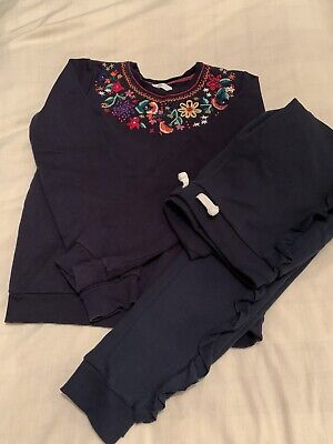 Marks And Spencer Girls Sweatshirt Jumper Embroidered  And Joggers 11-12