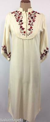 VINTAGE 70s Natural COTTON Mexican HAND EMBROIDERED crochet trim 3/4 DRESS 8 10