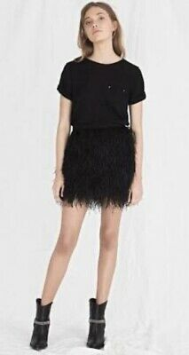 AJE Black WATTLE FEATHER MINI SKIRT Rare Designer Sold Out Size 8