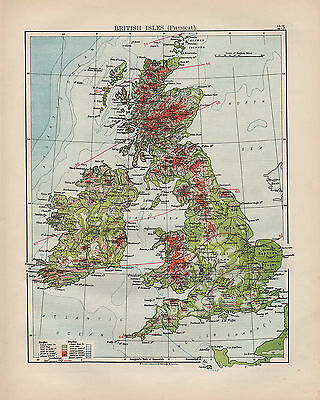 1900 Victorian Map ~ British Isles Physical Showing Heights & Depths