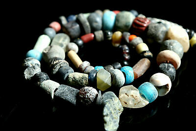 NILE Ancient Egyptian Mummy Mix Beaded Necklace c 600 BC-300 BC