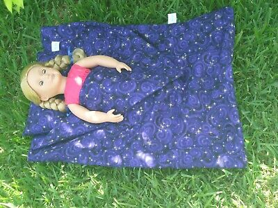 "Purple Night Sky Sleeping Bag W Pillow Fits American Girl Doll & Other 18"" Dolls"