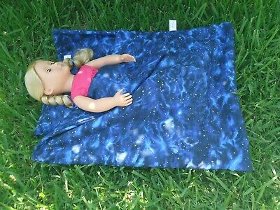 "Blue Night Sky Sleeping Bag W Pillow Fits American Girl Doll & Other 18"" Dolls"