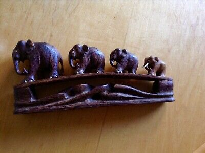 Vintage Art Deco Wooden Elephant Bridge. Retro Mid Century