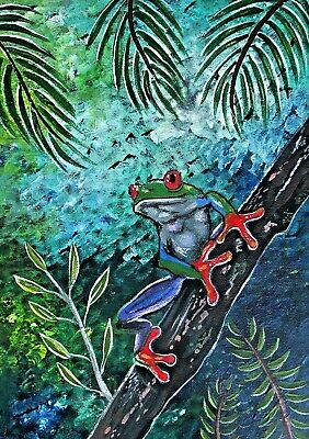 ABORIGINAL PAINTING stunning red eyed frog hand painted art on canvas COA