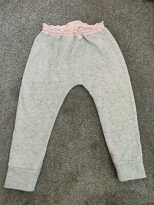 Next Girls Pink/Grey Pom Pom Jogging Bottoms Age 2-3 Years