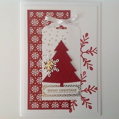 Handmade Christmas card: 'Nordic Tree' with cherry red.